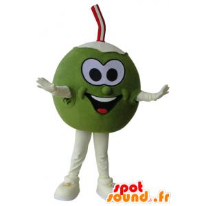 Gigante di cocco mascotte, verde e bianco - MASFR032189 - Mascotte di cibo