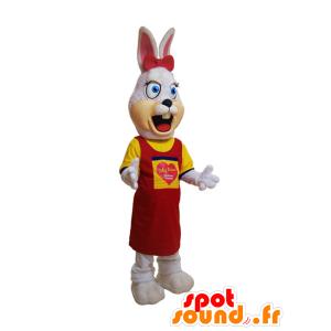 Valkoinen pupu maskotti, karvainen, pukeutunut keltainen ja punainen - MASFR032190 - maskotti kanit