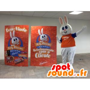 Valkoinen pupu maskotti, söpö ja pullea, pukeutunut oranssi - MASFR032191 - maskotti kanit