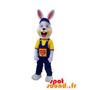 Wit konijntje mascotte, gespannen, gekleed in blauwe overalls - MASFR032192 - Mascot konijnen