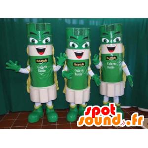 3 mascots grünen Klebestifte und weiß - MASFR032194 - Maskottchen von Objekten
