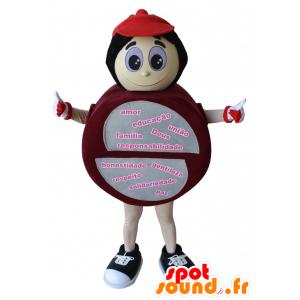 Runde Schneemann-Maskottchen, rot und grau - MASFR032195 - Menschliche Maskottchen
