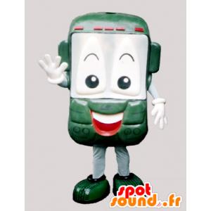 緑の携帯電話と笑顔マスコット - MASFR032200 - マスコットの携帯電話