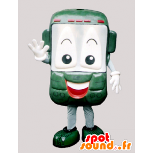 Green cell phone and smiling mascot - MASFR032200 - Mascottes de téléphone