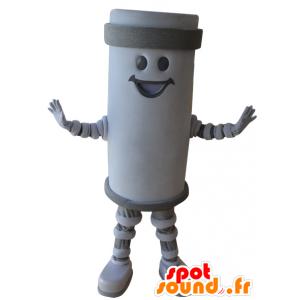 Mascot jättiläinen akku, valkoinen ja harmaa, hymyilevä - MASFR032207 - Mascottes d'objets
