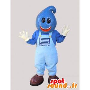 Blau Schneemann Maskottchen Kopf mit Teardrop - MASFR032210 - Menschliche Maskottchen