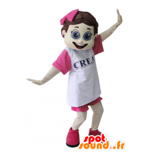 Coquette pige maskot klædt i lyserød og hvid - Spotsound maskot