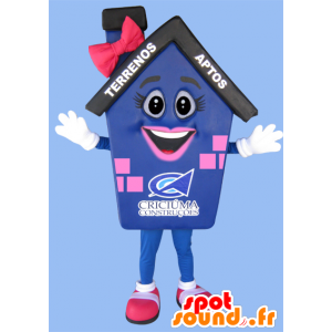 Mascot blue house pink and black giant - MASFR032216 - Mascots home