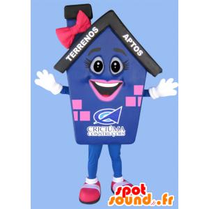 Mascot blauw huis, roze en zwarte reus