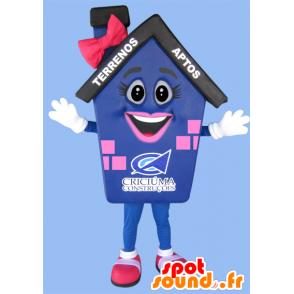 Mascot sininen talo, pinkki ja musta jättiläinen - MASFR032216 - maskotteja House