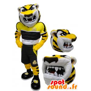 Gelbe Tiger-Maskottchen, schwarz und weiß, grimmig aussehende - MASFR032217 - Tiger Maskottchen