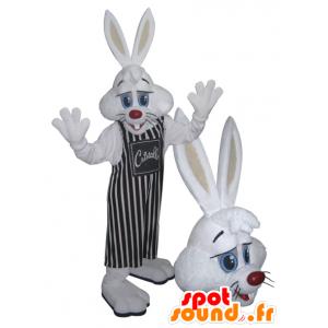 White Rabbit mascote com um avental listrado - MASFR032218 - coelhos mascote
