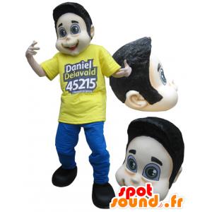 Maskotka chłopiec, ubrany w brązowy żółty i niebieski nastolatka - MASFR032227 - Maskotki Boys and Girls