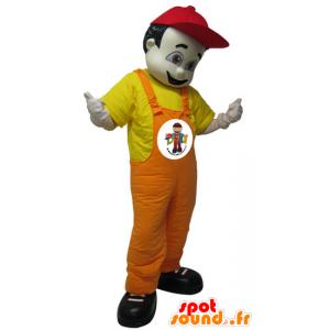 Mascot uomo scuro in tuta. mascotte dell'hotel - MASFR032228 - Umani mascotte