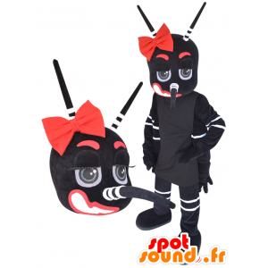 Riese Moskito Maskottchen, schwarz, weiß und rot - MASFR032232 - Maskottchen Insekt