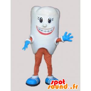Reusachtige witte tanden mascotte. tandarts Mascot - MASFR032233 - Niet-ingedeelde Mascottes