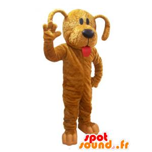 Maskotka pies, brązowy pies z czerwonym językiem - MASFR032236 - dog Maskotki