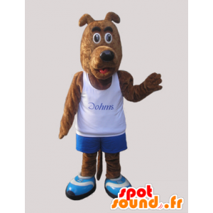 Mascote do cão marrom vestido no sportswear - MASFR032237 - mascote esportes