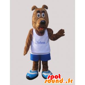Ruskea koira maskotti pukeutunut urheiluvaatteet - MASFR032237 - urheilu maskotti
