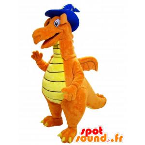 Arancio e giallo mascotte di dinosauro con cappello a punta - MASFR032241 - Dinosauro mascotte