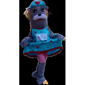 Mascot grigio leone marino, donna che indossa un abito colorato - MASFR032245 - Sigillo di mascotte