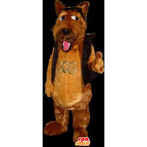 Søt brun hund maskot, mykt og hårete - MASFR032248 - Dog Maskoter