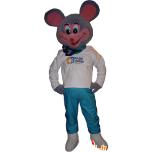 Gray and pink mouse mascot, very funny - MASFR032249 - Mouse mascot