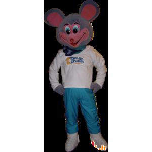 Mascotte grigio e rosa del mouse, molto divertente - MASFR032249 - Mascotte del mouse