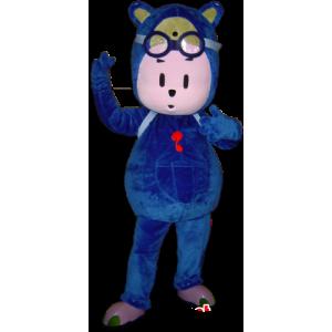 Mascot blau Schneemann, Teddybär mit Gläsern - MASFR032250 - Menschliche Maskottchen
