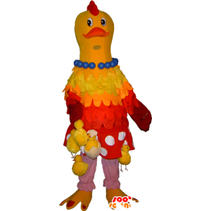 Gelbe und rote Maskottchen Huhn mit Küken hängen - MASFR032254 - Maskottchen der Hennen huhn Hahn