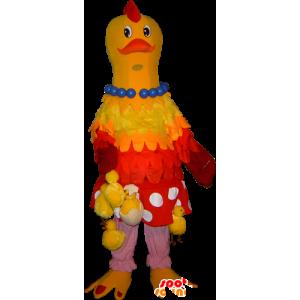 Giallo e rosso mascotte pollo appeso con i pulcini - MASFR032254 - Mascotte di galline pollo gallo