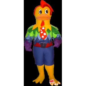Muscolare gallo mascotte, molto elegante e colorato - MASFR032255 - Mascotte di galline pollo gallo