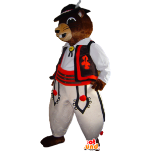 Marmot mascot, brown beaver in traditional dress