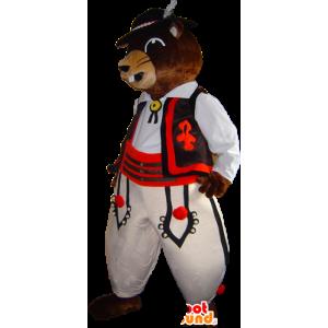 Marmot mascotte, bruine bever in traditionele kleding