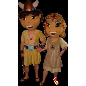 2 mascottes de Celtes, de Viking, homme et femme