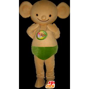 Beige creatura del mouse mascotte con le orecchie rotonde - MASFR032259 - Mascotte del mouse