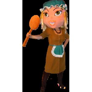 Mascotte de femme de ménage, de soubrette, de Cendrillon - MASFR032261 - Mascottes Femme