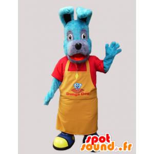 Blauwe hond mascotte met een gele schort - MASFR032262 - Dog Mascottes
