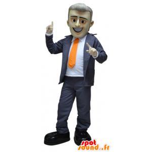 Geklede zakenman mascotte van een pak en stropdas - MASFR032265 - man Mascottes