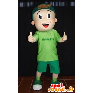 Boy mascotte, jonge tiener, gekleed in het groen - MASFR032266 - Mascottes Boys and Girls