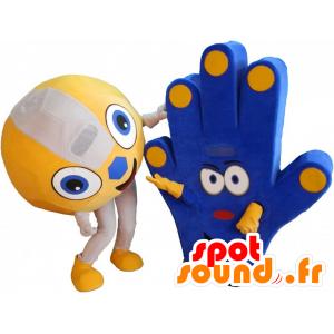 2 Maskottchen von Fans, einen Ball und eine Hand von Unterstützung - MASFR032268 - Sport-Maskottchen