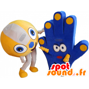 2 mascots of fans, a ball and a hand of support - MASFR032268 - Sports mascot