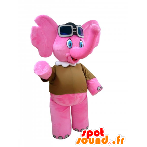 Mascot Pink Elephant with aviator glasses - MASFR032270 - Elephant mascots
