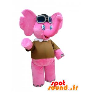 Maskottchen-Rosa Elefant mit Fliegerbrille - MASFR032270 - Elefant-Maskottchen