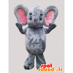 Mascot pink and gray elephant with big ears - MASFR032271 - Elephant mascots