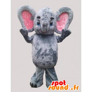 Mascotte rosa e grigio elefante con le grandi orecchie - MASFR032271 - Mascotte elefante