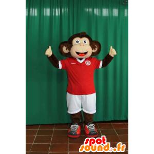 Braun und beige Affe Maskottchen in der Sportkleidung - MASFR032273 - Sport-Maskottchen