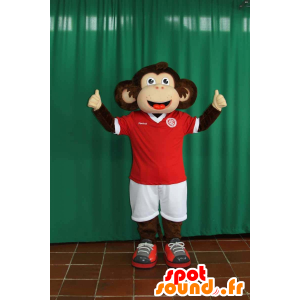 Bruin en beige aap mascotte in sportkleding - MASFR032273 - sporten mascotte