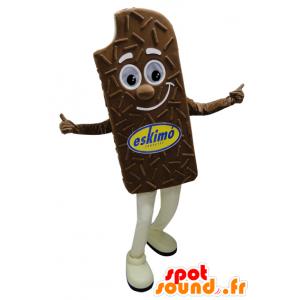Mascotte gigante gelato al cioccolato e sorridente - MASFR032275 - Mascotte di fast food