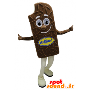 Mascot reuze chocolade-ijs en lachend - MASFR032275 - Fast Food Mascottes